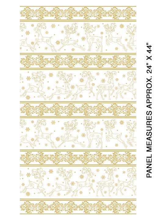 Benartex Deer Festival Stripe WhiteGold - 6871M09