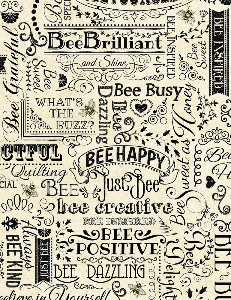 Timeless Treasures Bee Words - C7172