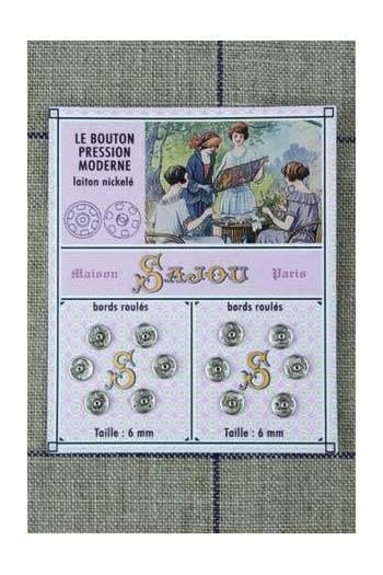 Sajou 12 BOUTONS PRESSIONS NICKELÉS 6 MM - Sajou