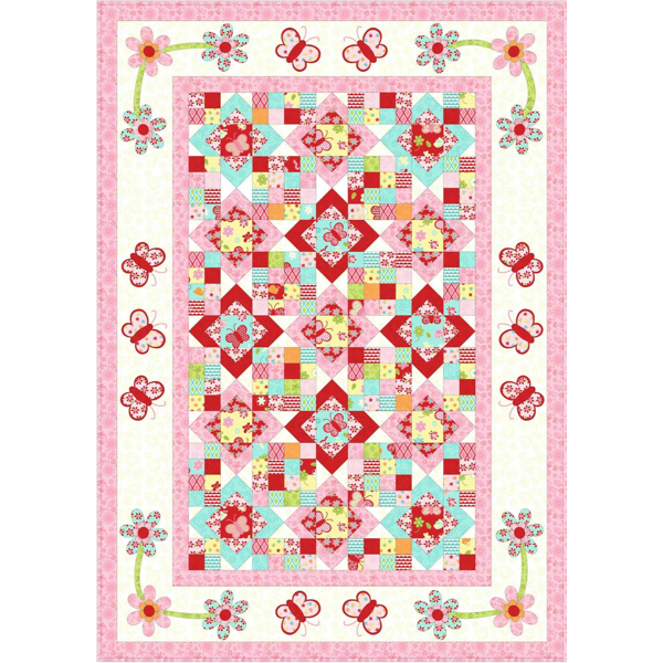 Kids Quilts Blossom like a Butterfly - Girls Bed Quilt Pattern