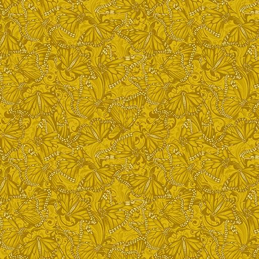 Benartex Butterfly Fields Gold - 1021734