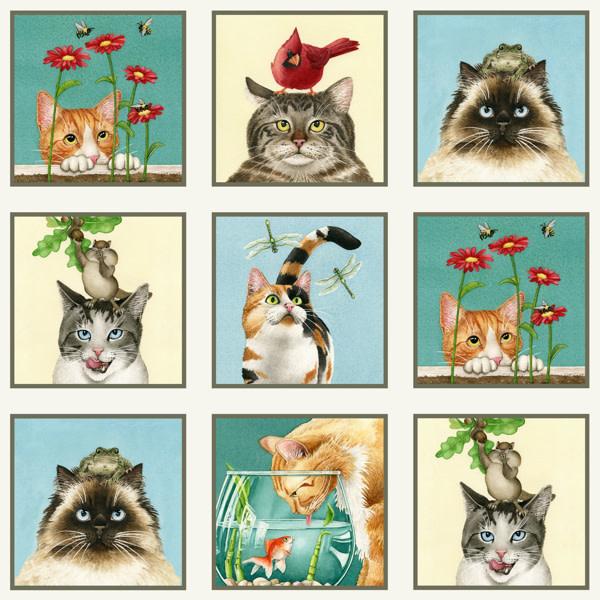 Curious Cats Panel Cream - 4322CREAM