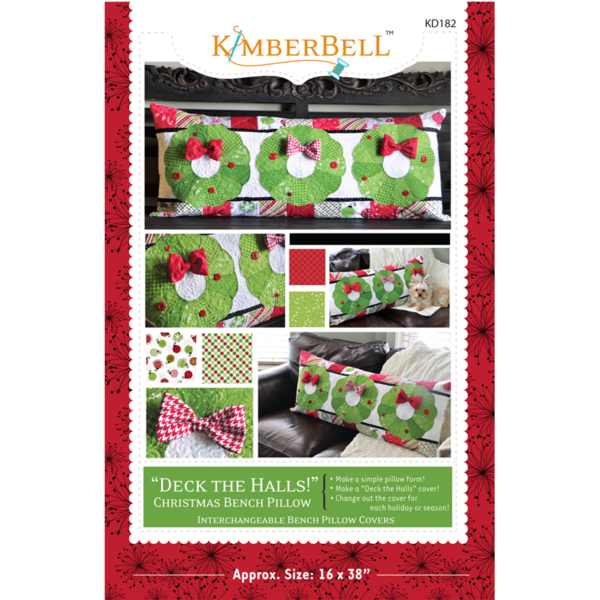 KimberBell Deck the Halls! Bench Pillow Patroon