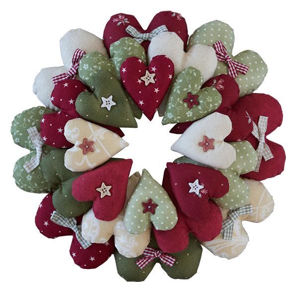 RinskeStevens Christmas Hearts Wreath - Complete kit