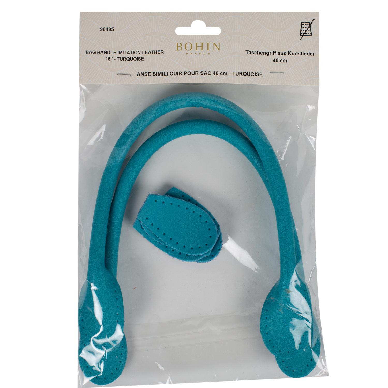 Bohin BAG HANDLE - LEATHER LOOK - 40cm -  Turquoise - BOHIN