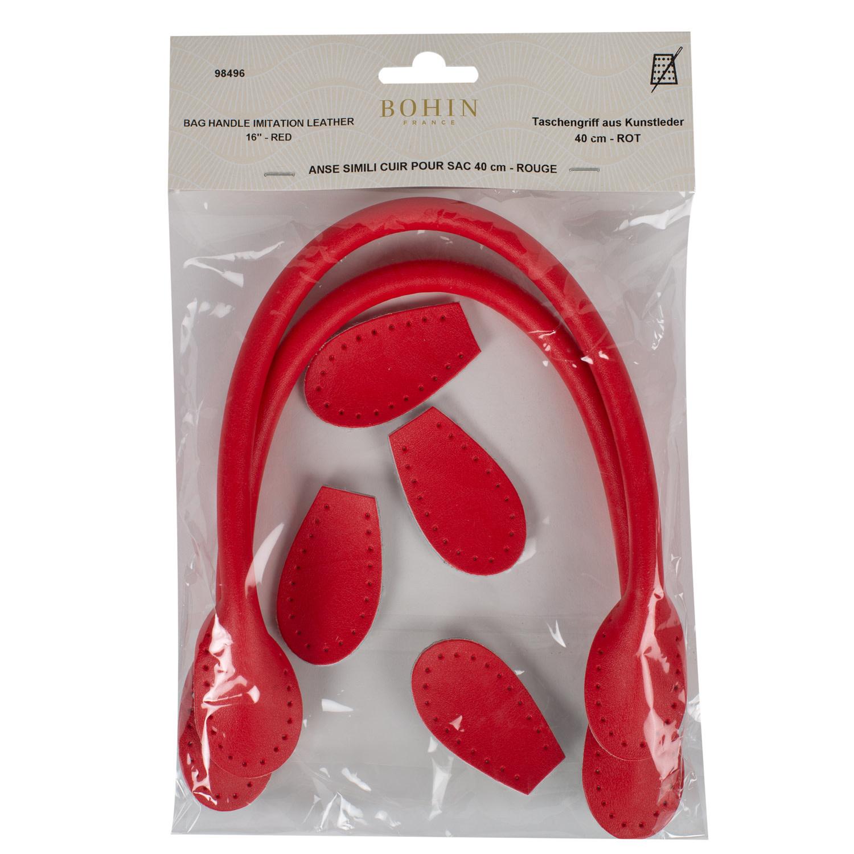 Bohin BAG HANDLE - LEATHER LOOK - 40cm -  Red -  BOHIN