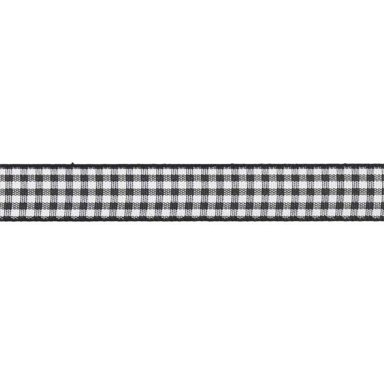 Black & White Checked Twill 14mm - 100cm
