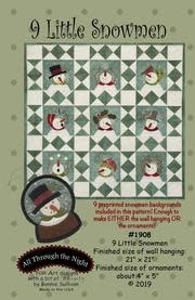 9 Little Snowmen by Bonnie Sullivan - Pattern  And Pre-Printed Fabric