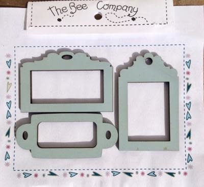 """The Bee Company 3 """"frame"""" labels - light blue - ET14"""