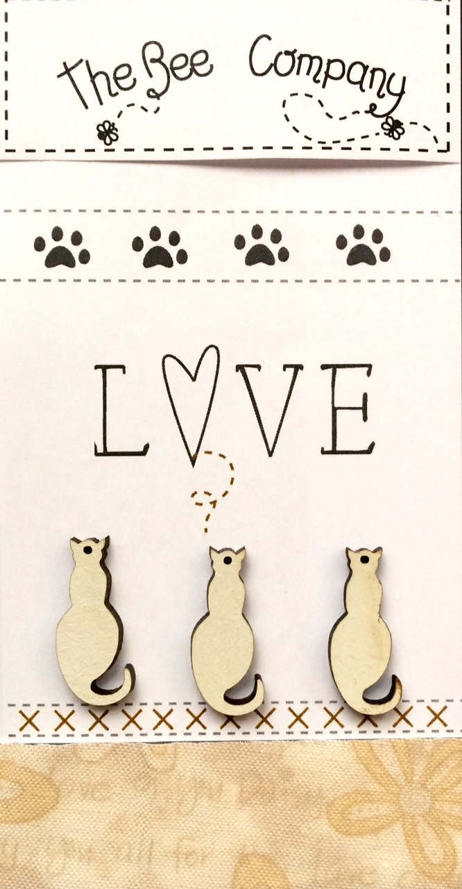 "The Bee Company ""Love"" Cat Buttons - Crème - TBM26C"