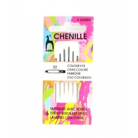 Diversen Chenille Needle Colored Eye N ° 22 - PONY
