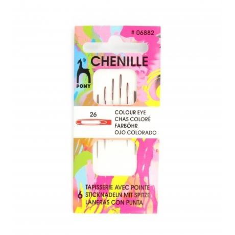 Diversen Chenille Needle Colored Eye N ° 26 - PONY