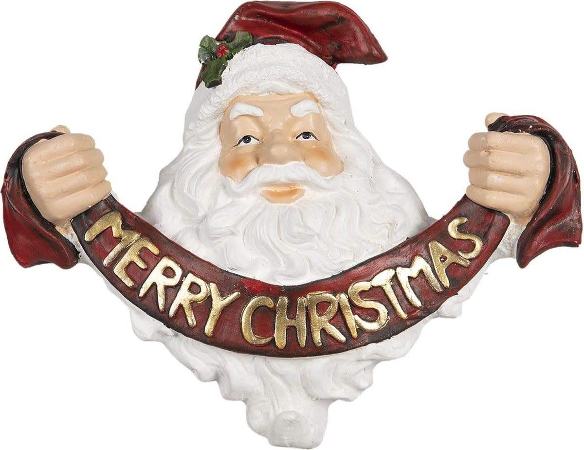 clayre&eef Decoratie kerstman 35*17*29 cm rood