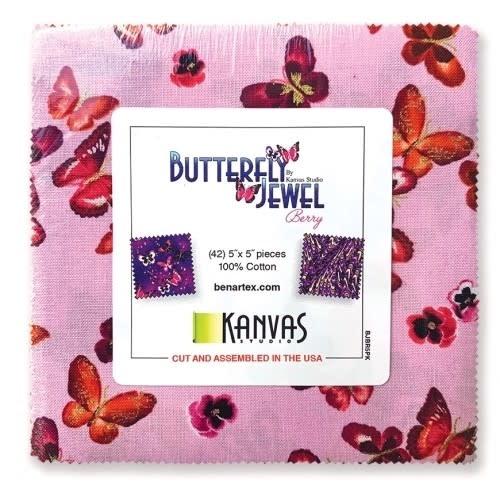 Benartex Butterlfy Jewel 5x5 Pack - Benartex