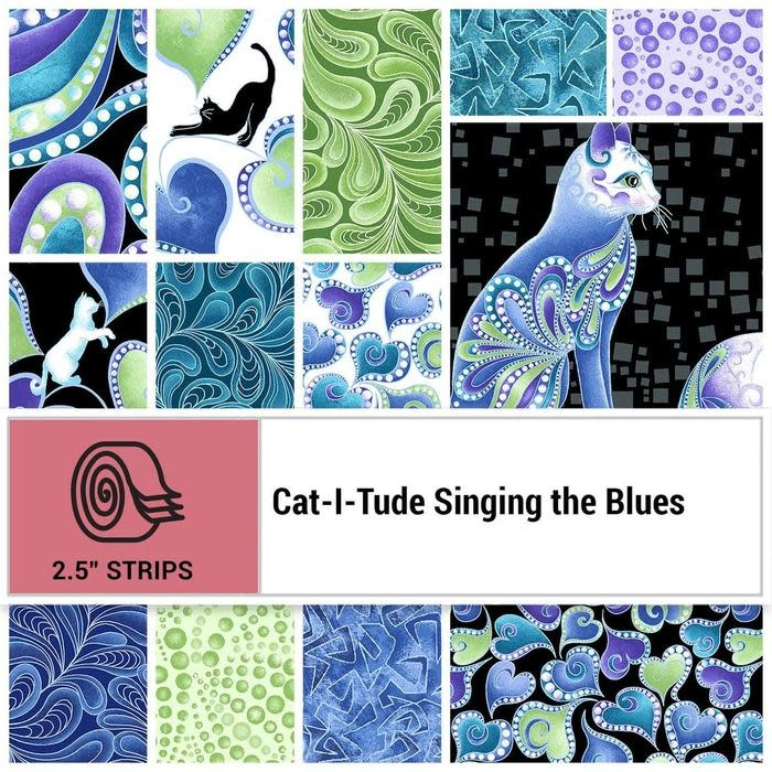 Benartex Cat-I-Tude Singing the Blues Strip-Pies