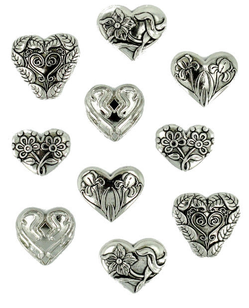Dress It Up Assorted Silver Hearts
