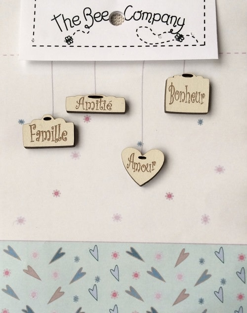 The Bee Company Buttons 4 mini tags (French) - TB21F
