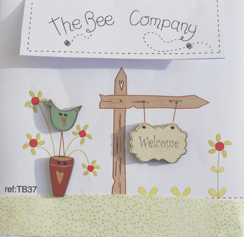 """The Bee Company Buttons """"Welcome"""" - TB37"""