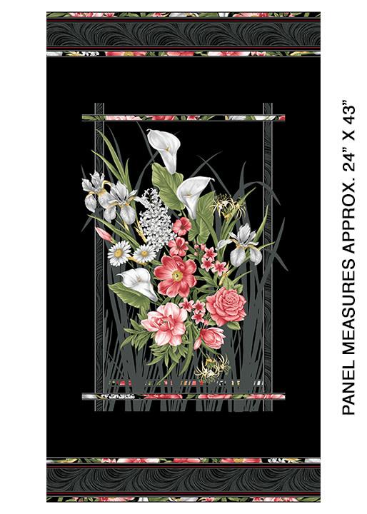 Benartex Benartex Magificient Blooms 6780 12 Panel Black Multi