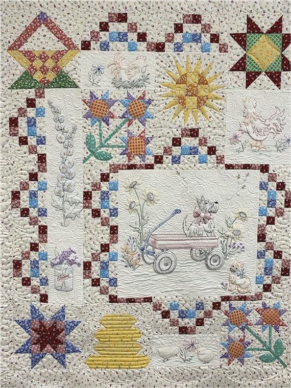 marcus fabrics Aunt Grace Blue Ribbon