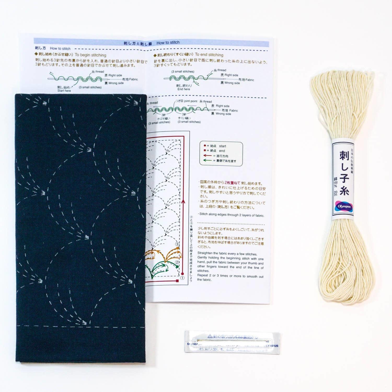 COUPON TISSU SASHIKO 33 x 66 CM -HANAFUKIN 201 +AIGUILLE+ FIL SASHIKO