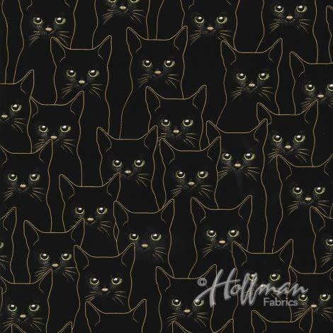 Hoffman Fabrics Black & Gold Cats
