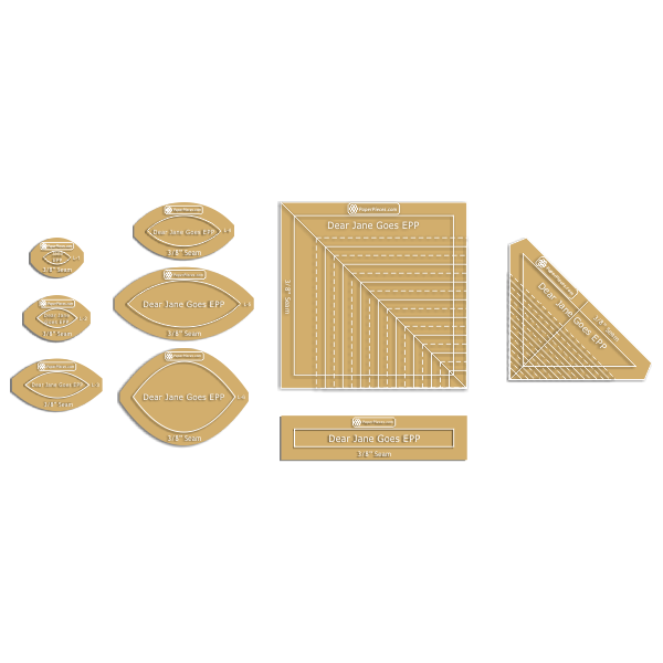 "Paper Pieces 9-Piece Acrylic Template Set ""Dear Jane"", with 3/8"" Seam Allowance"
