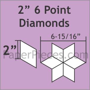 """Paper Pieces 2"""" 6 Point Diamonds - 75 Pieces"""