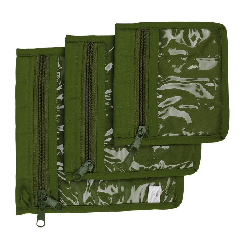 jazzy 3 Pc Craft Pouches-Green