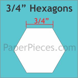 Paper Pieces 3/4 inch Hexagons package van 1500 st.