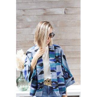 Coat blue stripes