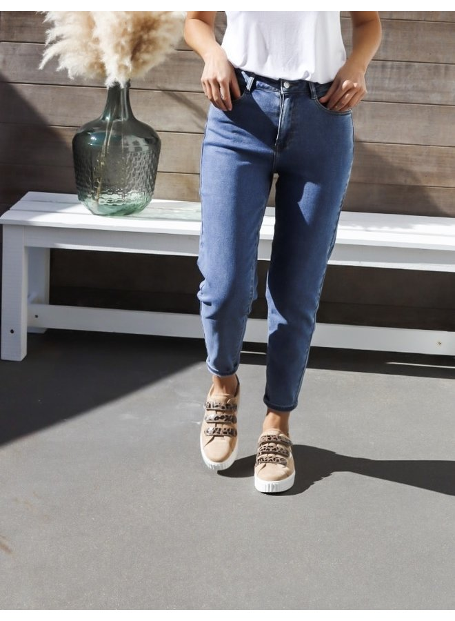 Mom jeans dark blue not distressed