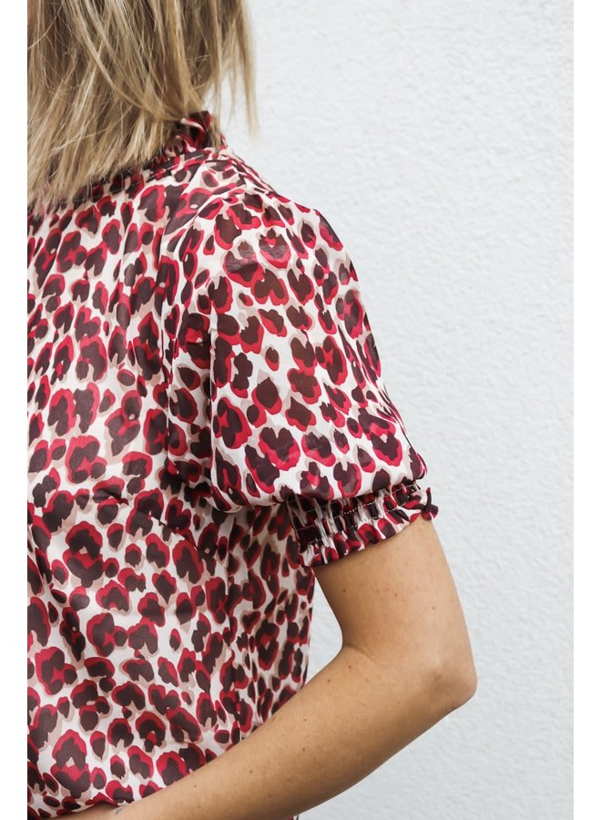 Blouse leo red SS