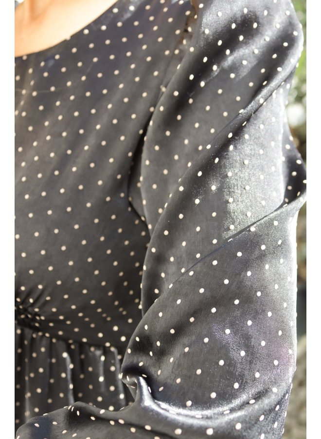 Abito knee Length Dress - Black Dotted