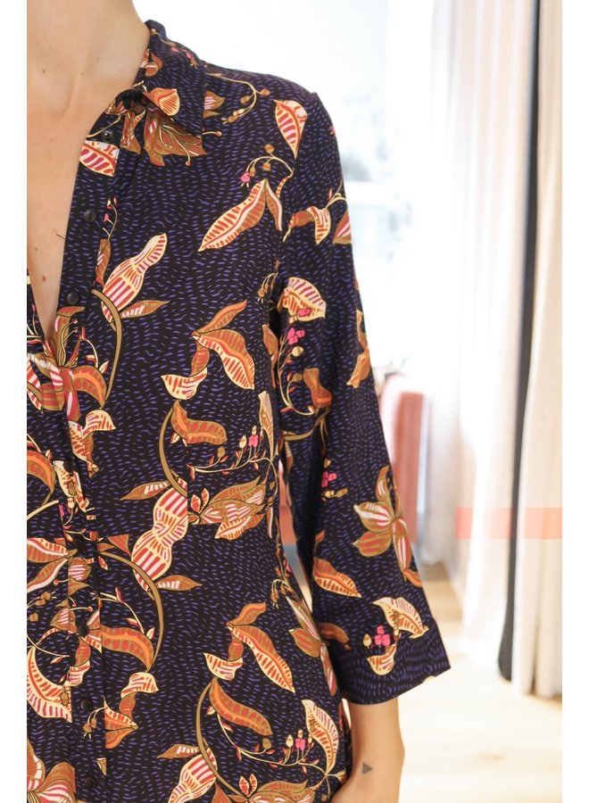 Savannah flora long maxi shirt dress