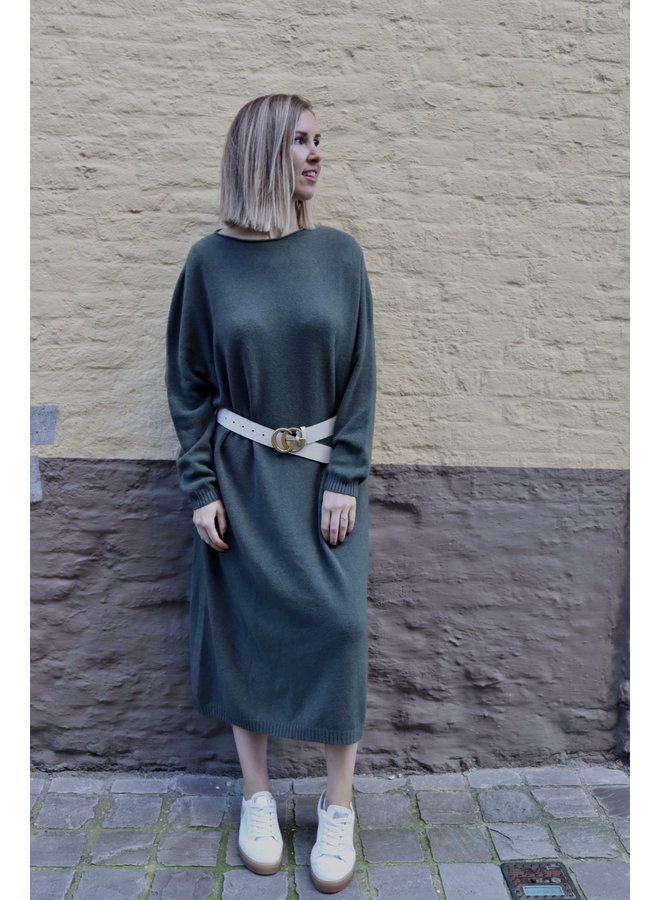 Knitted oversized dress khaki
