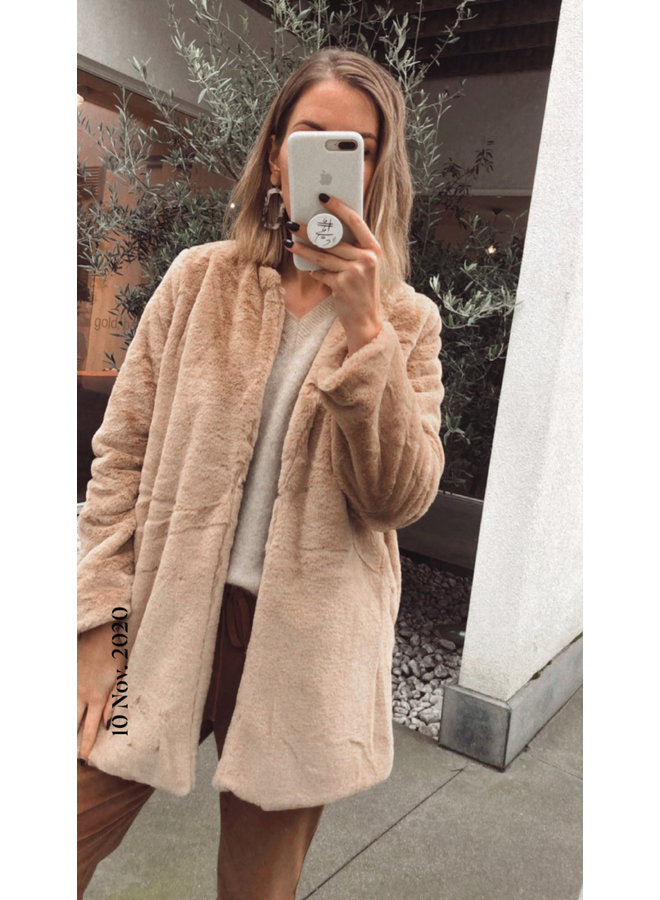 Faux fur coat Lexie beige