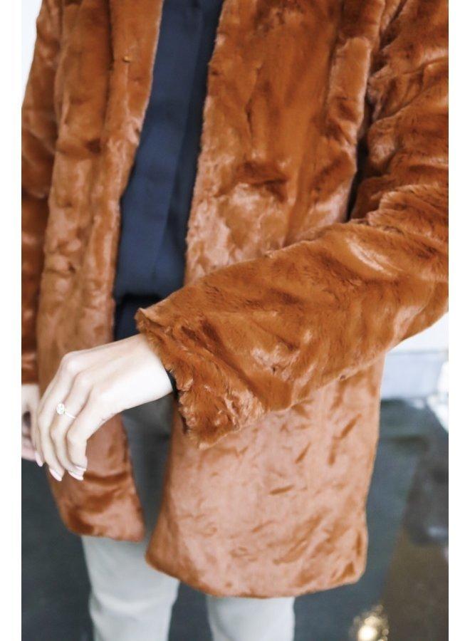 Faux fur coat Lexie cognac