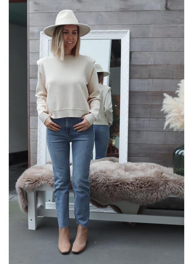 High waist jeans straight blue