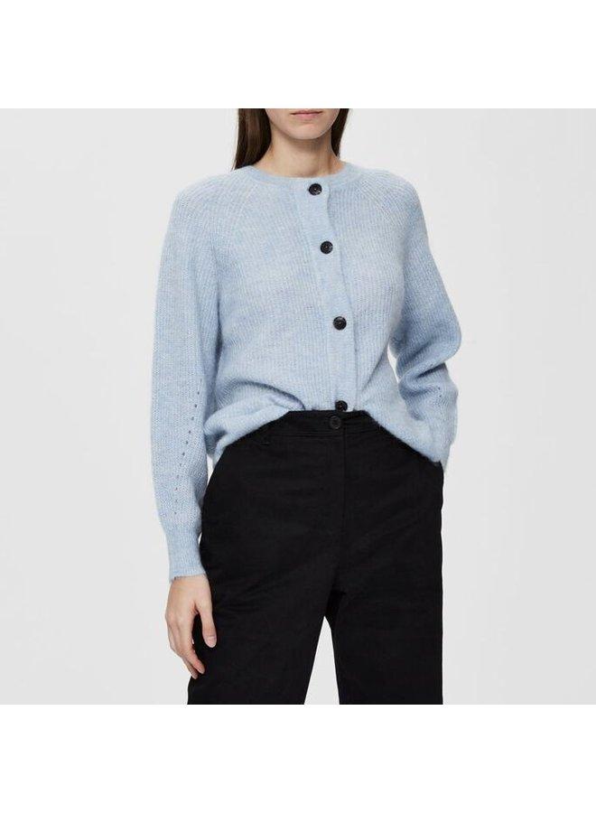Slflulu ls knit short cardigan cashmere blue