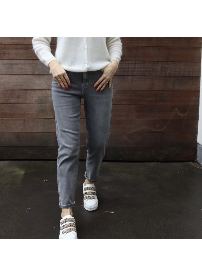 Mom jeans light grey not distressed new