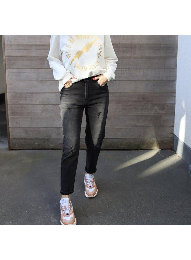 Mom jeans black distressed