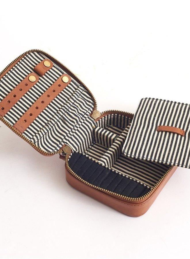 Jewelry box cognac stromboli leather