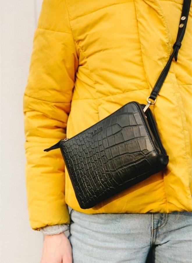 Lola black/croco soft grain leather