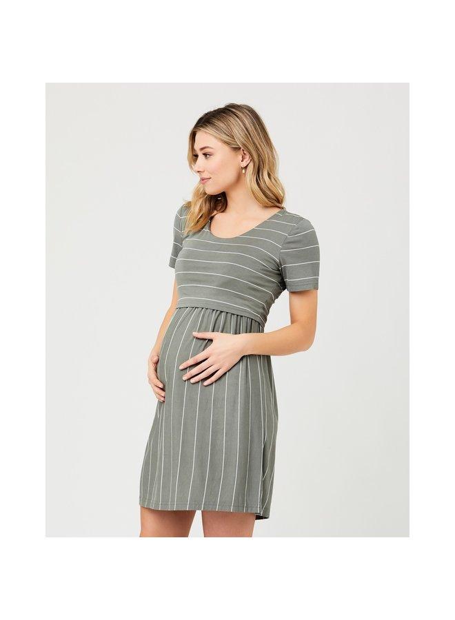 Crop top nursing dress olive