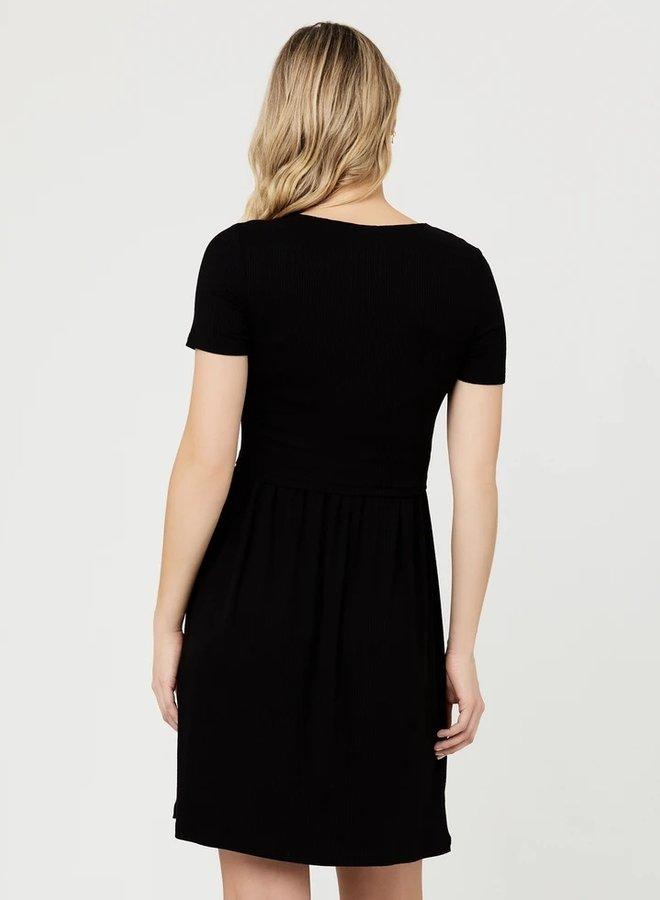 Rib dress black size XS