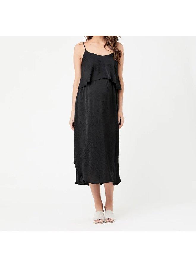 Nursing slip dress black