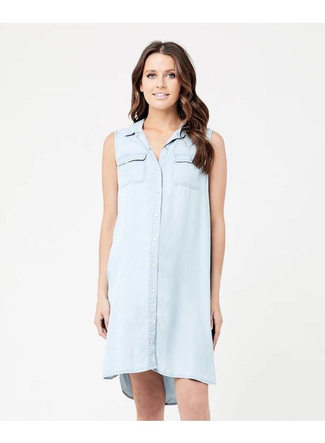Sleeveless weekend shirt dress clean fade