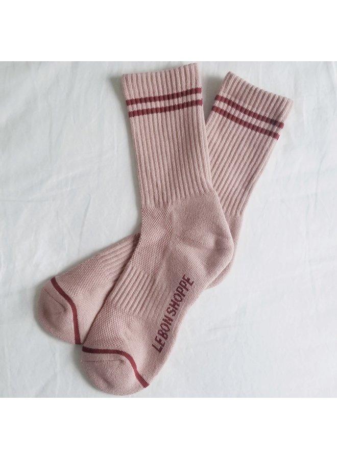 Boyfriend Socks Vintage Pink