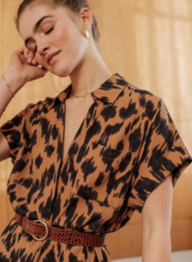 Robe Raquel marbre camel